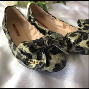 PRADA LEOPARD PATENT LEATHER BALLET FLATS WITH BOW